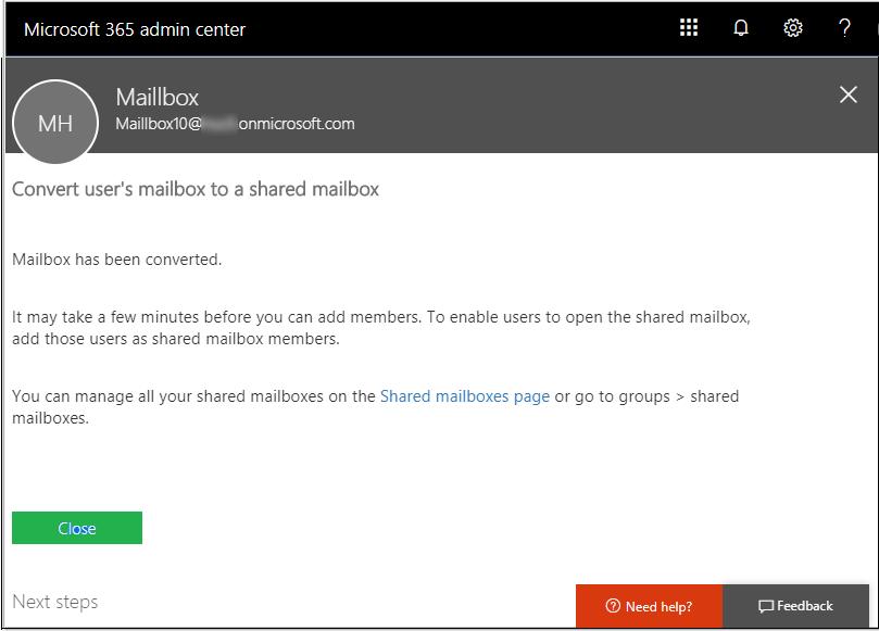 TransferOffice 365 User Mailbox to Shared mailbox