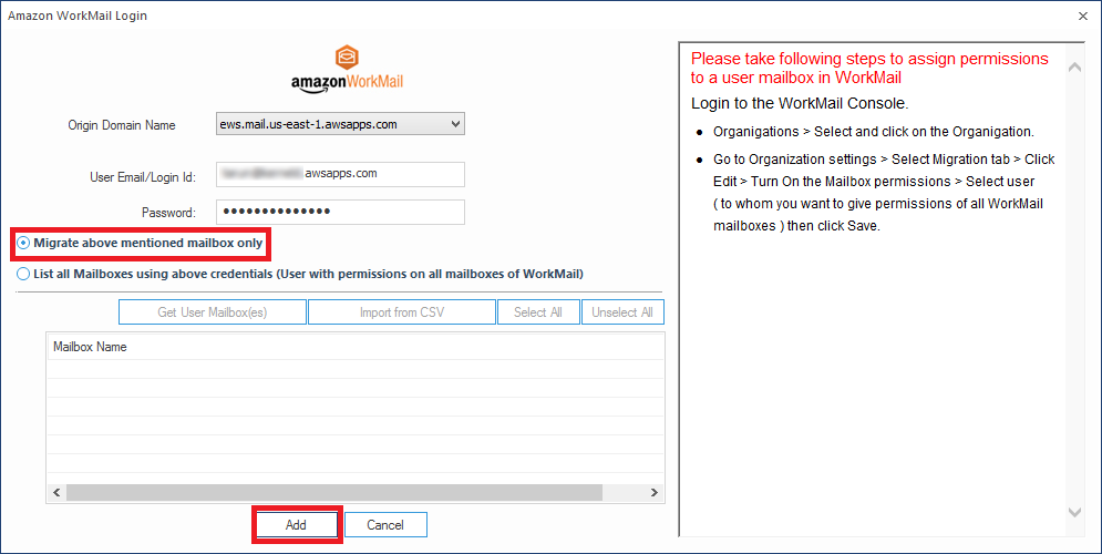Amazon WorkMail to Office 365 Screenshots