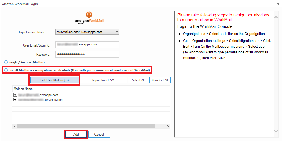 Transfer Mailboxes from Amazon WorkMail to Office 365