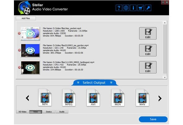 Select Audio video file for conversion