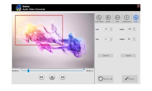 Shows the preview of Audio Video files