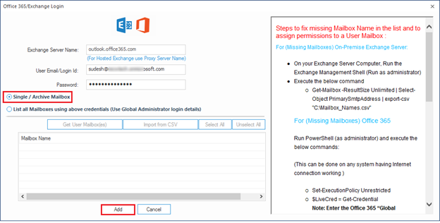 Select Office 365 file to migrate Amazon Workmail